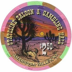 Stateline Saloon Casino Amargosa Valley NV $2.50 Chip Doris Jackson 1996