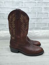 """Double-H Men's 12"""" Work Western Cowboy Boots Brown Leather 1546 Size 10 D USA"""