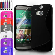 S-Line Silicone Gel Case Cover Pouch For HTC One M8 (2014) & Screen Protector