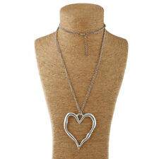 Large Abstract Metal Heart Pendant With Long Chain Necklace Lagenlook