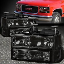 FOR 94-99 GMC C10 C/K SUBURBAN SMOKED HOUSING CLEAR CORNER HEADLIGHT BUMPER LAMP