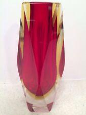 "Fine Art Glass Vase Ruby Red Murano Sommerso 6 1/2 "" by Mandruzzato Murano Italy"