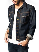 Nudie Mens Dry Raw Denim Jeans Jacket | Conny Dry Variant | Slim Fit