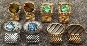 Vintage Lot of Four Pair of Chain Cufflinks 3 Gold Tone & 1 Silver Tone No Brand