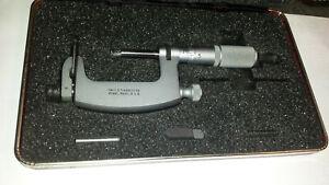 Starrett No.220 1 - 2 Inch Multi-Anvil Outside Micrometer (.001) W/Friction Thim