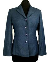 Donna Collezioni Zone Womens Blue Tweed Polyester Blazer Jacket Sz M