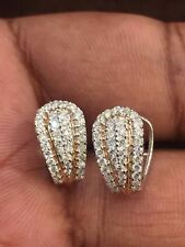 Pave 0.85 Cts Round Brilliant Cut Diamonds Hoop Earrings In Solid 18K White Gold