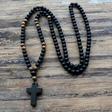 Mens Wooden Beads Rosary Necklace Black Stone Cross Pendant Jewelry Accessory