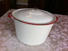 Vintage Farmhouse White & Red Enamelware Stock Pot ~ Kettle ~  With Lid!