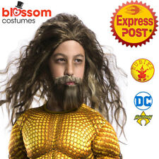 W644 Child Aquaman Costume Wig and Beard Set Dawn of Justice League Superhero