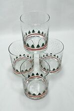 """Set of 4~Holiday Drinking Glass Tumblers~4"""" Tall~12 oz~Red/Green/White~Christmas"""
