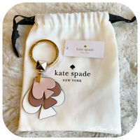 KATE SPADE LEATHER STACKED SPADES KEY FOB IN ROSYCHEEKS