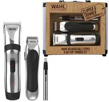 Wahl Rechargeable Hair Clipper Beard Shave Trimmer & Nose / Ear Trimmer Gift Set