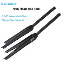 "28.6*700C Road Bike 3K Carbon Fiber Rigid Fork 1-1/8"" Steerer Tube 300mm Forks"