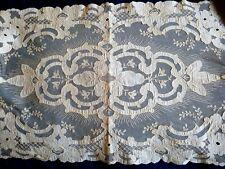 "Antique/Vintage Appliqued/Needlerun Embroidered Cotton Net Lace Runner~52"" x 16"""