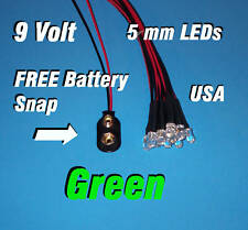 10 x LED - 5mm PRE WIRED LEDS 9 VOLT GREEN 9V USA