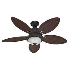 "HUNTER 54-Inch Ceiling Fan w/ Light Caribbean Breeze ""Weathered Bronze""  54095"