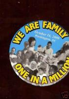 We are Family MILLION MARCH old pin October 16 2000  CIVIL RIGHTS pinback