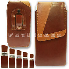 Universal Mobiles Phone Case Cover Pouch Belt Clip Loop Holster Holder Brown