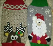 Reindeer FATHER Christmas KNIT DOG PUPPY JUMPER SWEATER x small & S Pets at Home