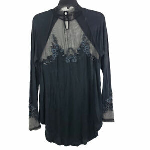 Free People Long Sleeves Sheer Tunic Top Embroidered Black Size M