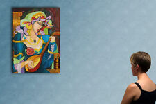 """39"""" GIRL PLAYING MANDOLIN --  original cubist oil on canvas painting by ANNA !!!"""