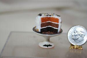 Miniature Dollhouse Anne Caesar Halloween Cake w Bats on Porcelain Pedestal NR