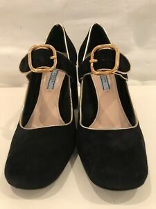 Authentic Prada Pumps Suede Black Size 40 Made In Italy!