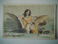 Leda Girl & Swan at Sea Old Postcard