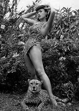 Betty Page w/Leopard  Fridge Magnet 2.5 x 3.5