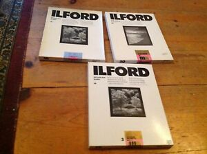 vintage ILFORD LOT OF 3 OPEN BOX 11 X 14 B & W 125150 count  EXPIRED AS IS