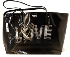 VICTORIA'S SECRET LOVE COLLECTION BLACK HOLOGRAPHIC TOTE SHOPPING BAG