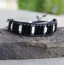 Men's  Black Obsidian and White Turquoise Leather Bead Bracelet
