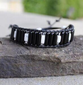 Men's  Black Obsidian and White Turquoise Leather Bead Bracelet
