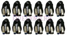 12 Lot 3Ft XLR 3-Pin Male Female Extension Mic Microphone Audio Cord Cable 3' Ft