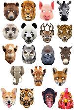 Ensemble Complet de 19 Animal 2D CARTE Masques De Visage De Fête hibou cochon