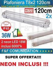 Plafoniera Stagna Doppio Tubi Led T8 120cm Per 2 Neon A Led Impermeabile Esterno