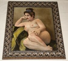 Early Original Oil Painting on Canvas. Reclining Nude Beauty Female Brunette.