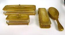 Set de voyage France um 1840 Bronze Verre cristal Brosse