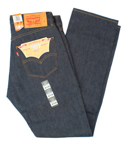 LEVIS SHRINK TO FIT 501 JEANS BUTTON FLY STRAIGHT LEG  RIGID BLUE 0000