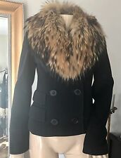 Andrew Marc Black Double-breasted Cashmere Fur Jacket Coat XS US 2