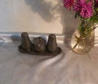 Antique 1920's Pewter Cruet Set-Hand Hammered Arts and Crafts Style