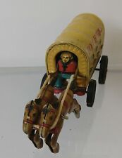 Vintage windup toy wagon train Pony Express buggy.  4""