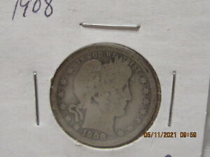 1908   BARBER QUARTERS (  90% SILVER ) U.S. SHIPPING ONLY
