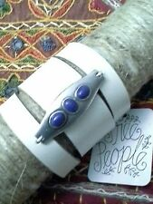 Free People Monza Statement Cuff Bracelet BOHO White Leather Stone Accent  $28