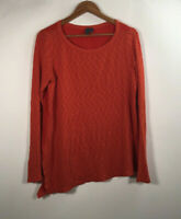 Anthropologie Left Of Center Women's Size M Long Sleeve Orange Blouse Tunic