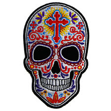 Embroidered Sugar Skull Sew or Iron on Patch Biker Patch
