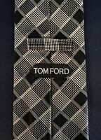 New Tom Ford Mens Necktie Tie Black White Tones Grid Check 3.75 X 60.5