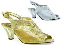 New Fashion Diamante Block Heel Strappy Ankle Women Ladies Sandal UK Size 3-8