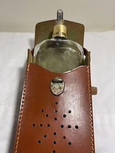 Brown Faux Leather Transistor Radio Case For Liquor Flask Bottle VINTAGE (JL)